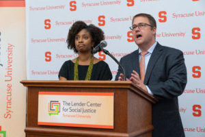 Marcelle Haddix and Kendall Phillips speak at the Lender Center dedicaction