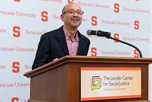 Kevin Kumashiro speaks at the Lender Center dedication